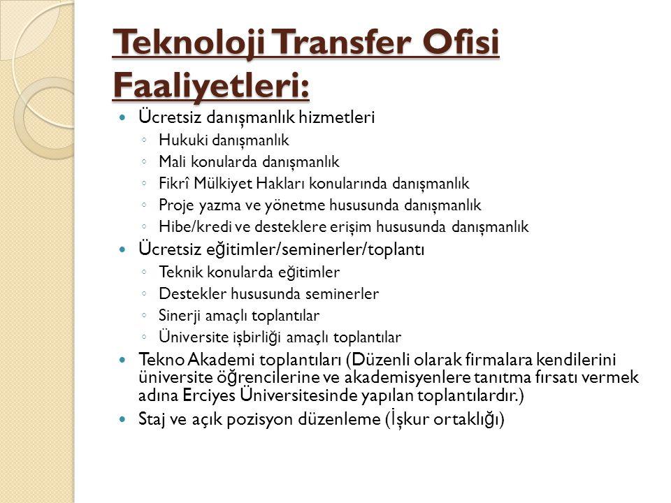 Teknoloji Transfer Ofisi Faaliyetleri: