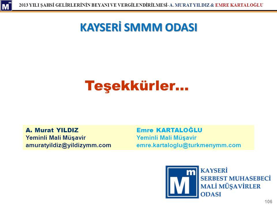 Teşekkürler… KAYSERİ SMMM ODASI A. Murat YILDIZ Emre KARTALOĞLU
