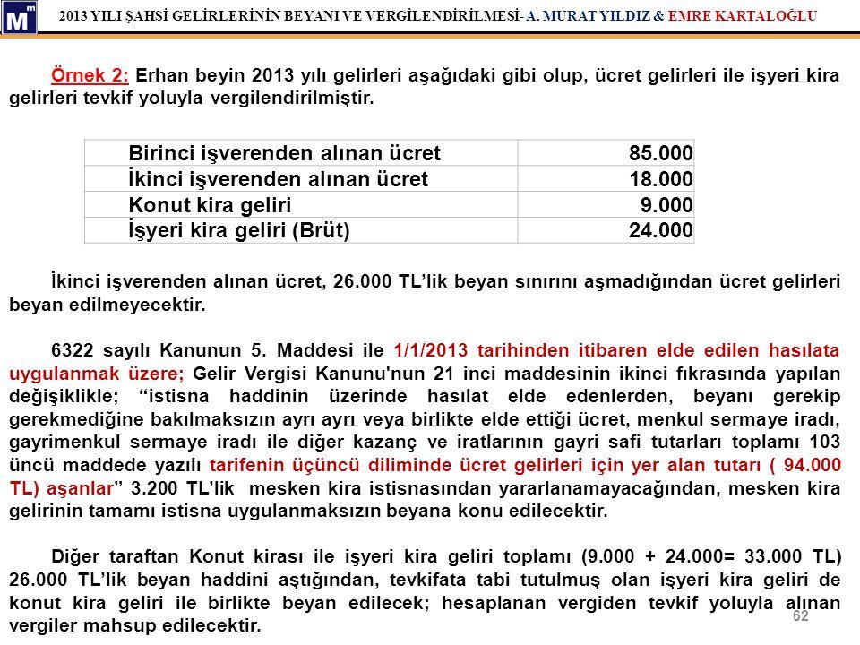 Birinci işverenden alınan ücret 85.000 İkinci işverenden alınan ücret