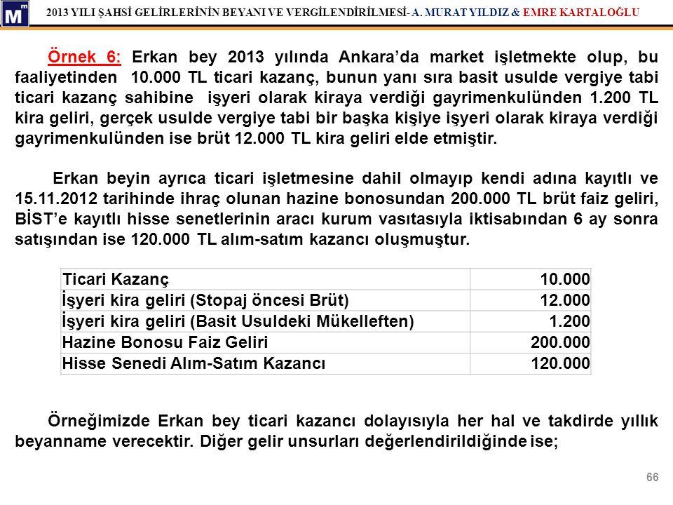Örnek 6: Erkan bey 2013 yılında Ankara'da market işletmekte olup, bu faaliyetinden 10.000 TL ticari kazanç, bunun yanı sıra basit usulde vergiye tabi ticari kazanç sahibine işyeri olarak kiraya verdiği gayrimenkulünden 1.200 TL kira geliri, gerçek usulde vergiye tabi bir başka kişiye işyeri olarak kiraya verdiği gayrimenkulünden ise brüt 12.000 TL kira geliri elde etmiştir.