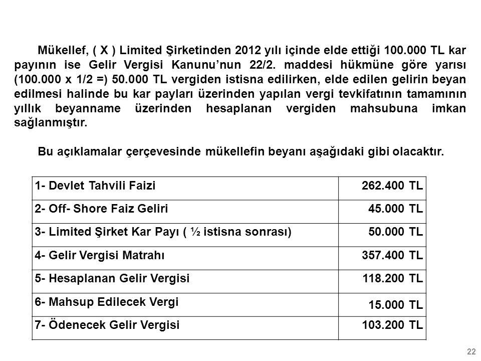 Mükellef, ( X ) Limited Şirketinden 2012 yılı içinde elde ettiği 100