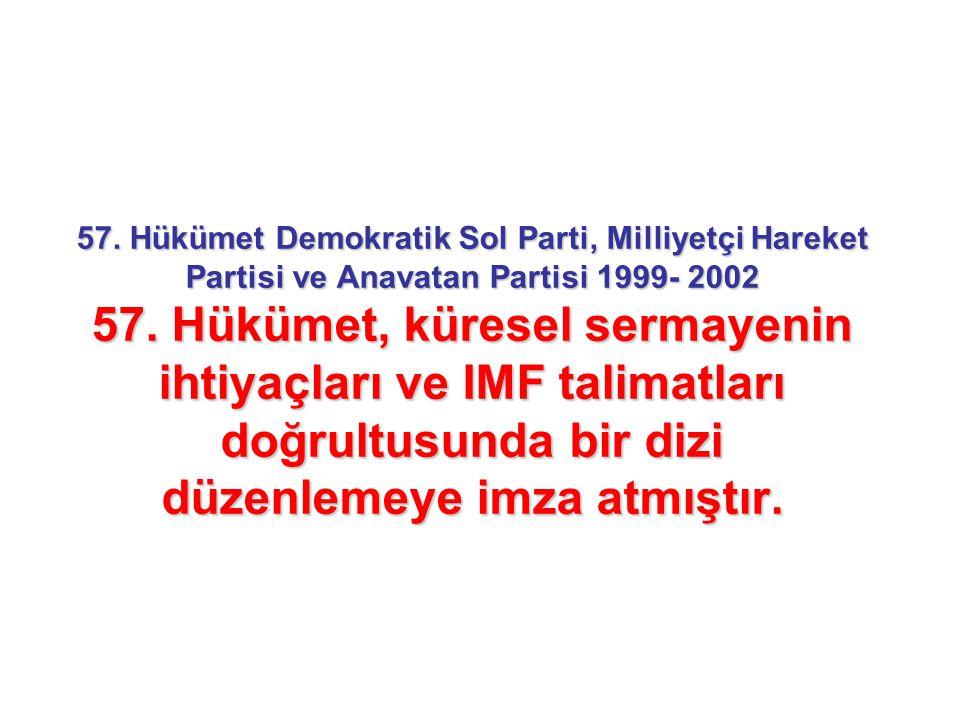 57. Hükümet Demokratik Sol Parti, Milliyetçi Hareket Partisi ve Anavatan Partisi 1999- 2002 57.