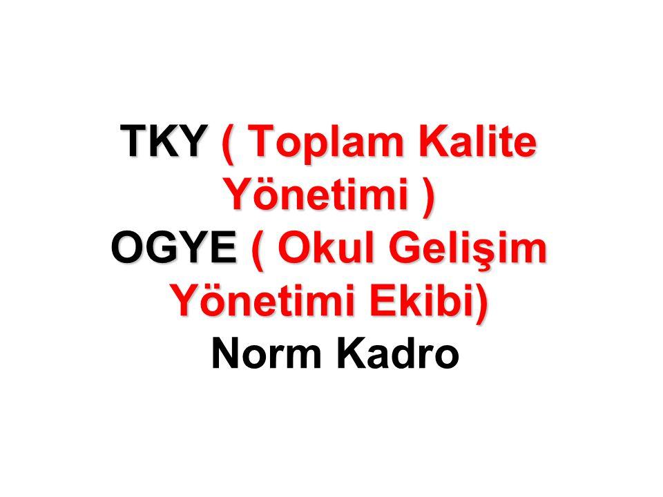 TKY ( Toplam Kalite Yönetimi ) OGYE ( Okul Gelişim Yönetimi Ekibi) Norm Kadro