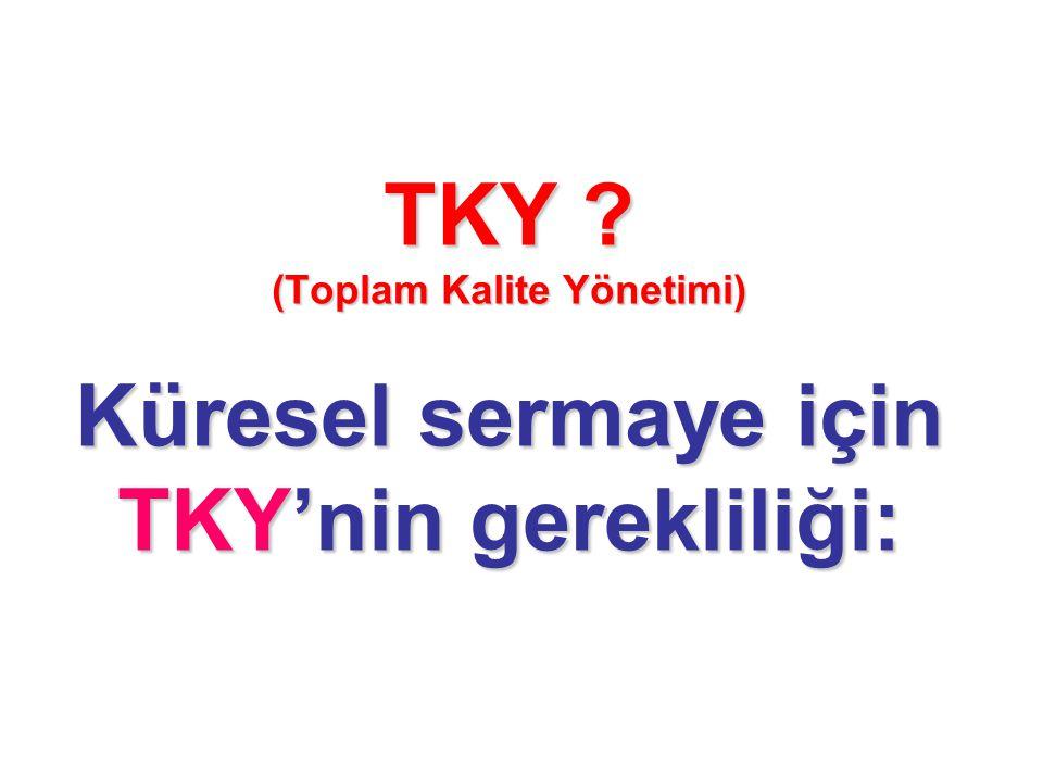 TKY (Toplam Kalite Yönetimi) Küresel sermaye için TKY'nin gerekliliği: