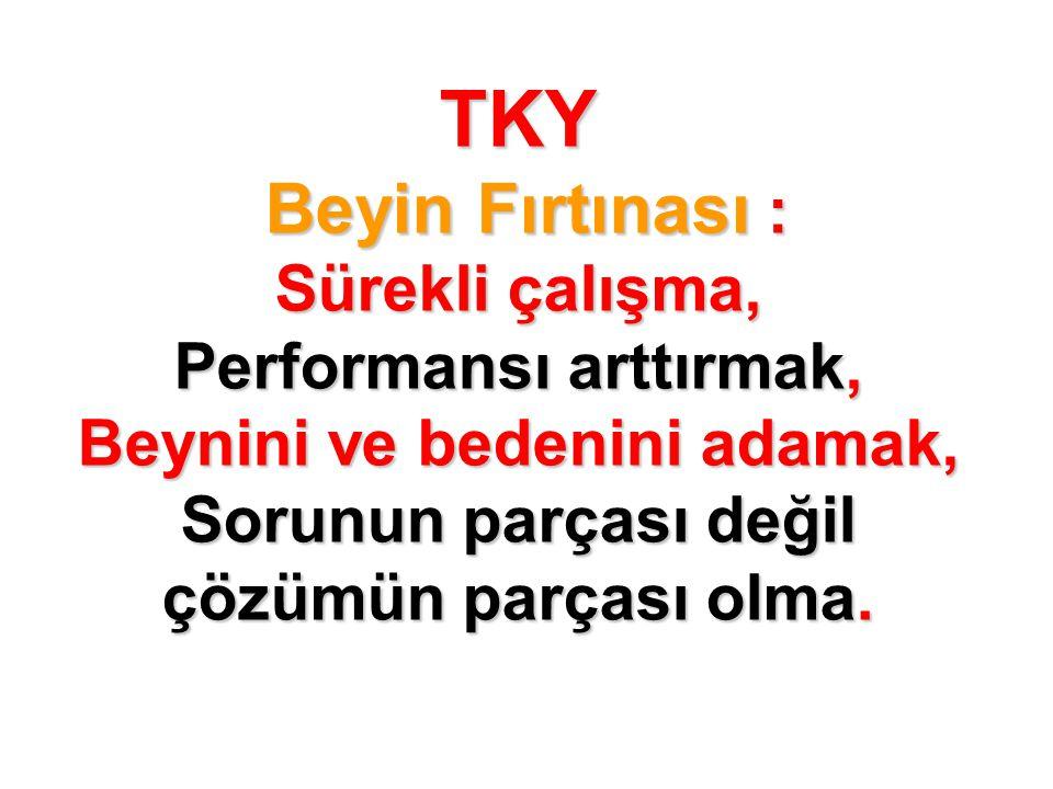 TKY Beyin Fırtınası : Sürekli çalışma, Performansı arttırmak, Beynini ve bedenini adamak, Sorunun parçası değil çözümün parçası olma.