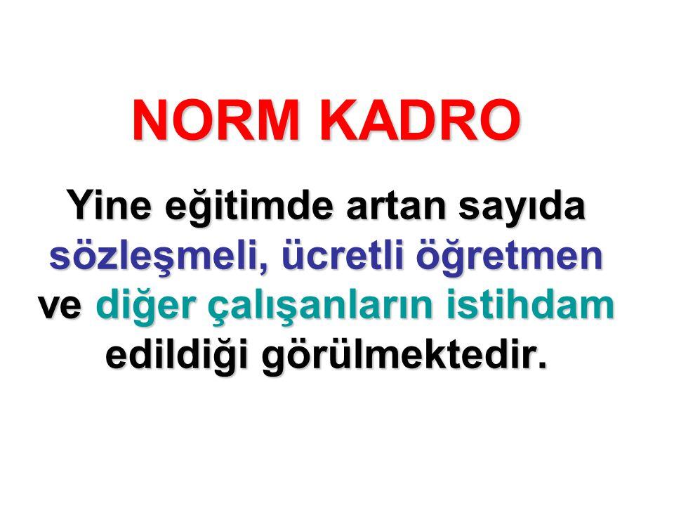 NORM KADRO Yine eğitimde artan sayıda sözleşmeli, ücretli öğretmen ve diğer çalışanların istihdam edildiği görülmektedir.