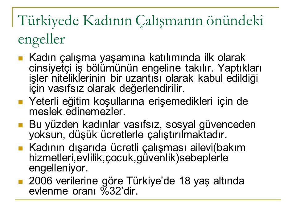 Türkiyede Kadının Çalışmanın önündeki engeller