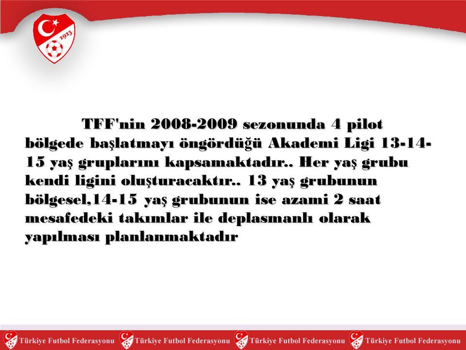 TFF nin 2008-2009 sezonunda 4 pilot bölgede başlatmayı öngördüğü Akademi Ligi 13-14-15 yaş gruplarını kapsamaktadır..