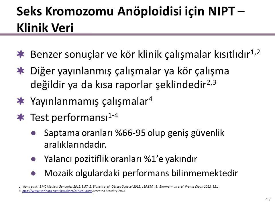 Seks Kromozomu Anöploidisi için NIPT – Klinik Veri