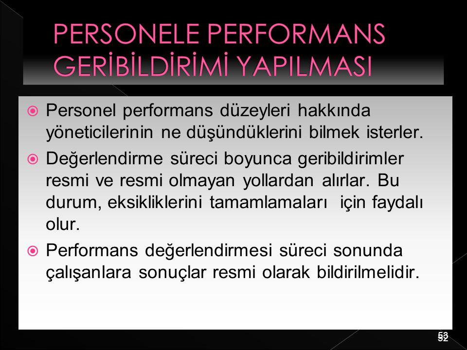 Personel performans düzeyleri hakkında yöneticilerinin ne düşündüklerini bilmek isterler.