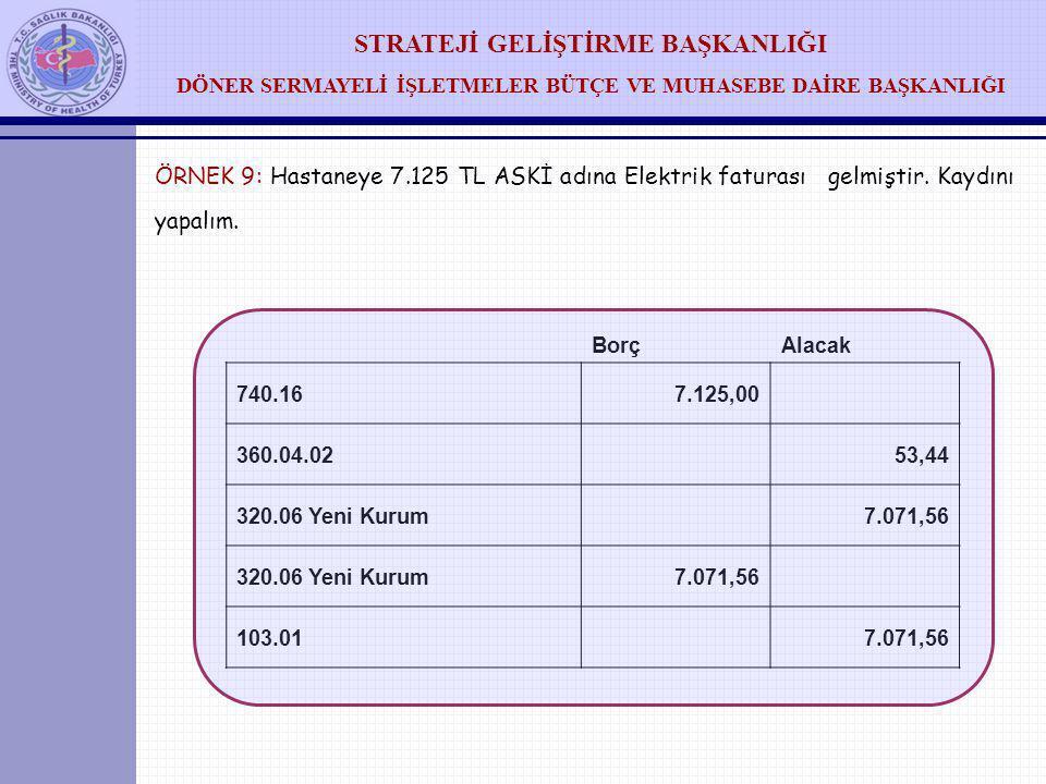 ÖRNEK 9: Hastaneye 7. 125 TL ASKİ adına Elektrik faturası gelmiştir