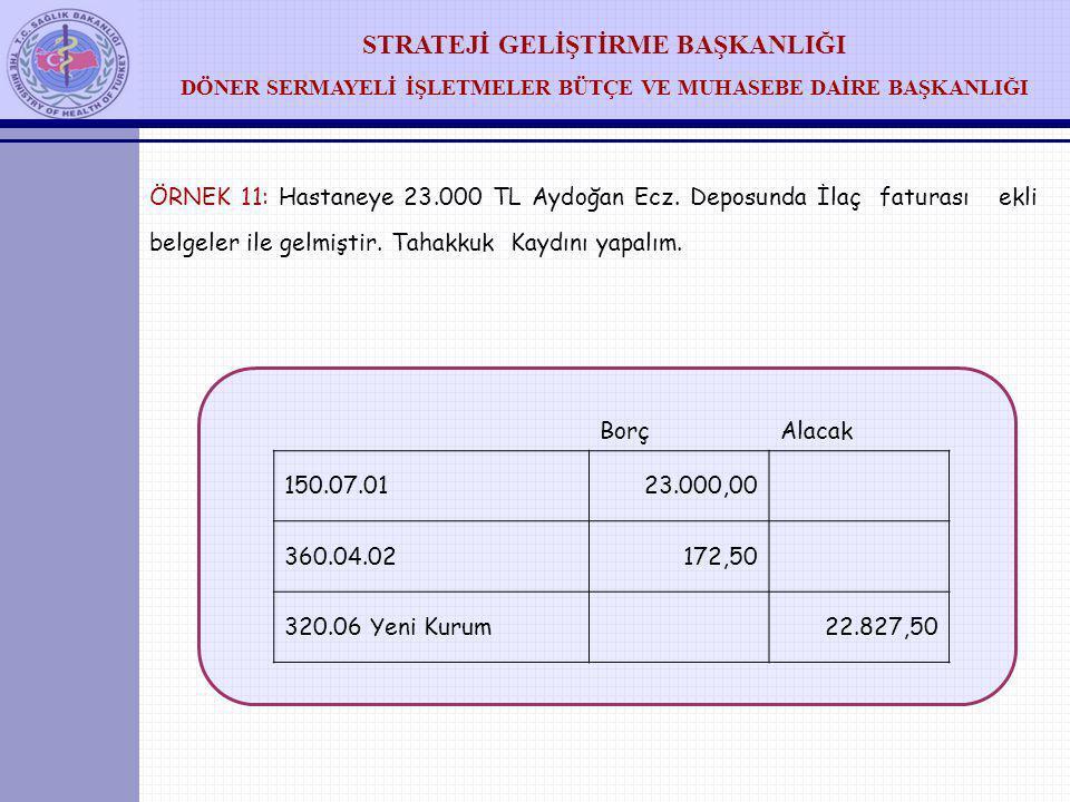 ÖRNEK 11: Hastaneye 23. 000 TL Aydoğan Ecz