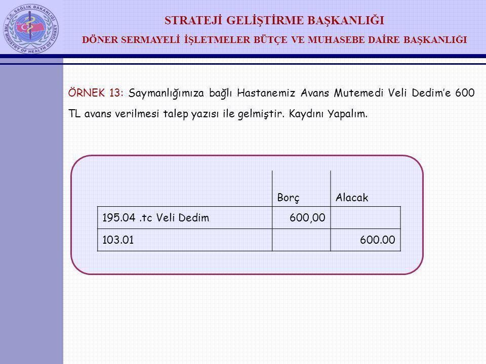 ÖRNEK 13: Saymanlığımıza bağlı Hastanemiz Avans Mutemedi Veli Dedim'e 600 TL avans verilmesi talep yazısı ile gelmiştir. Kaydını Yapalım.