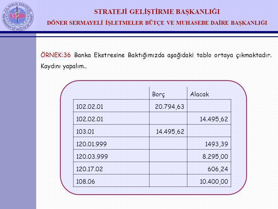 ÖRNEK:36 Banka Ekstresine Baktığımızda aşağıdaki tablo ortaya çıkmaktadır. Kaydını yapalım..