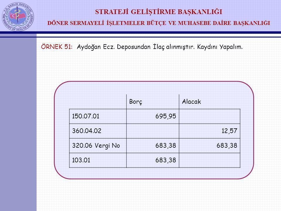 ÖRNEK 51: Aydoğan Ecz. Deposundan İlaç alınmıştır. Kaydını Yapalım.