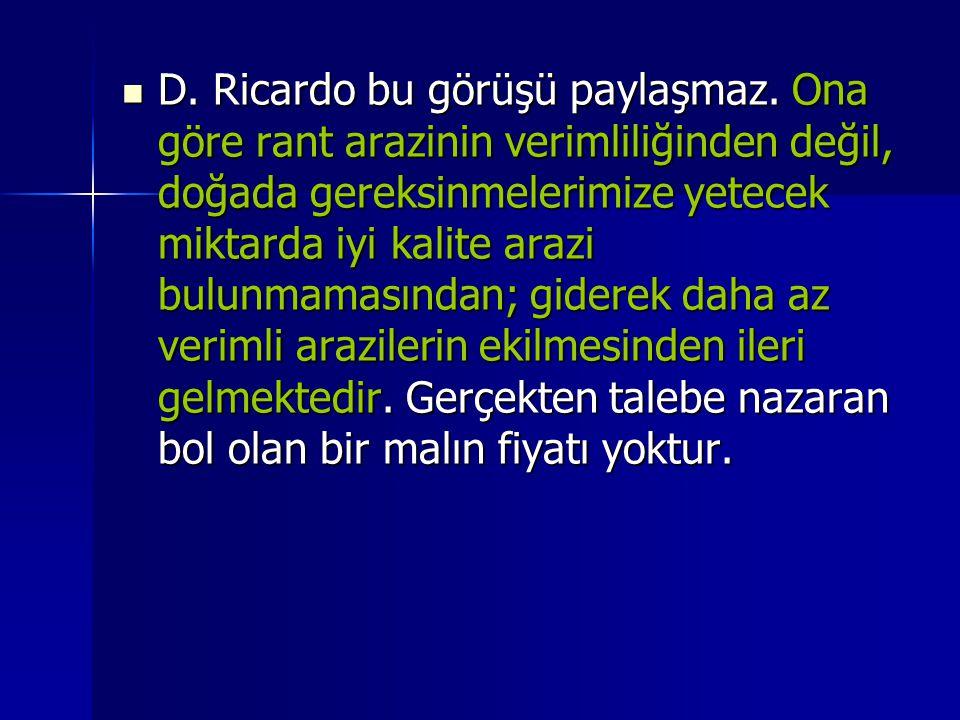 D. Ricardo bu görüşü paylaşmaz