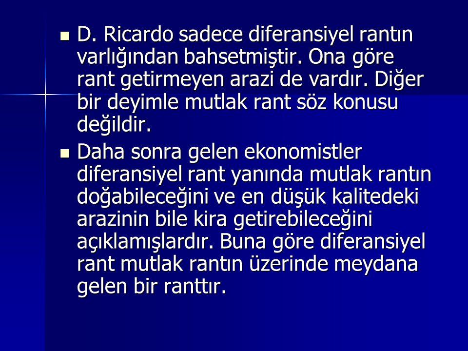 D. Ricardo sadece diferansiyel rantın varlığından bahsetmiştir