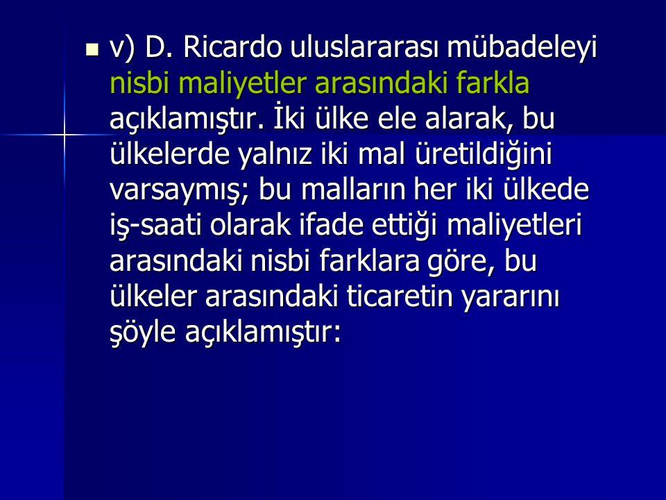 v) D. Ricardo uluslararası mübadeleyi nisbi maliyetler arasındaki farkla açıklamıştır.