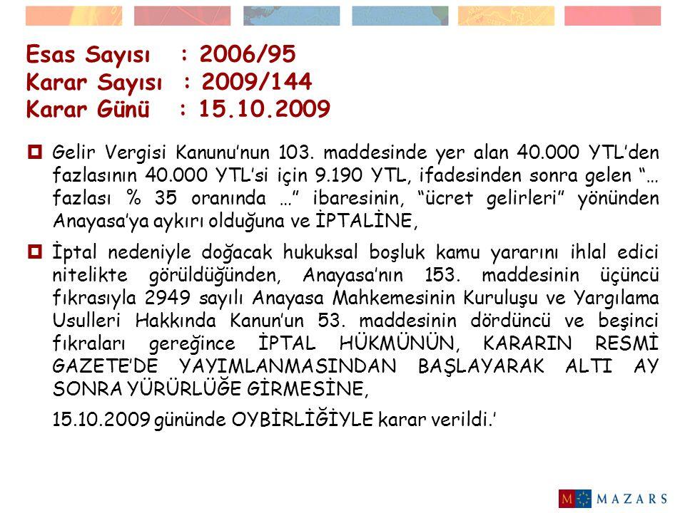 Esas Sayısı : 2006/95 Karar Sayısı : 2009/144 Karar Günü : 15.10.2009