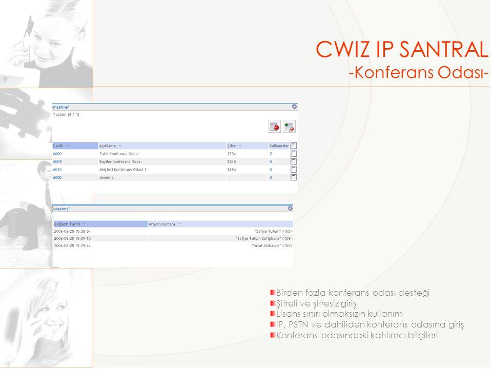 CWIZ IP SANTRAL -Konferans Odası- Birden fazla konferans odası desteği