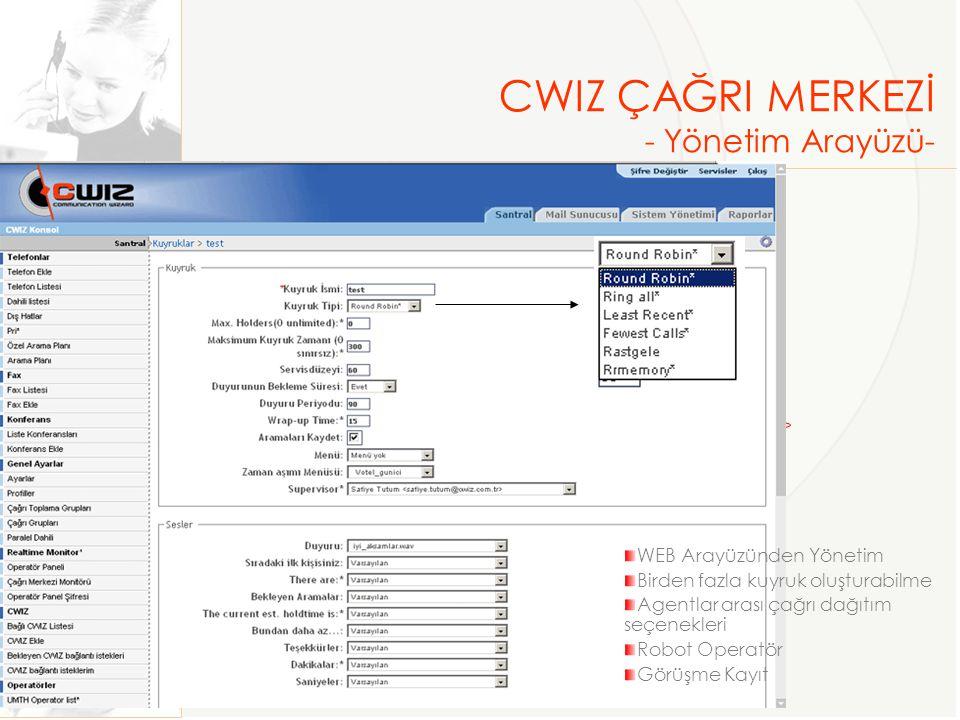 CWIZ ÇAĞRI MERKEZİ - Yönetim Arayüzü- WEB Arayüzünden Yönetim