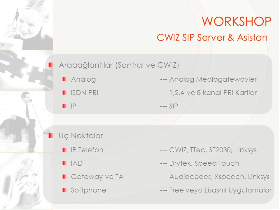 WORKSHOP CWIZ SIP Server & Asistan Arabağlantılar (Santral ve CWIZ)