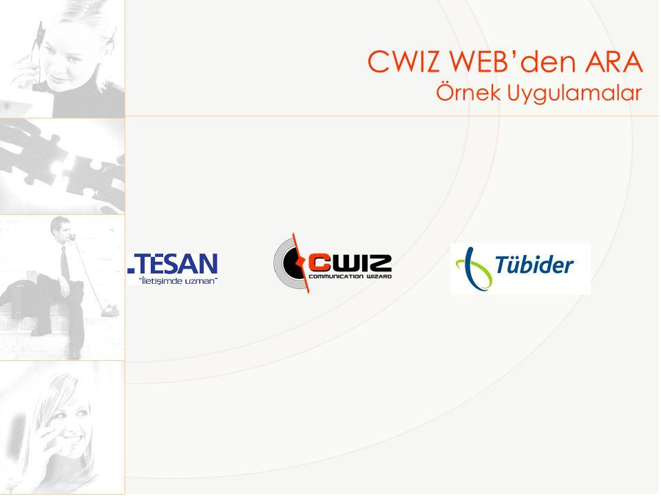 CWIZ WEB'den ARA Örnek Uygulamalar