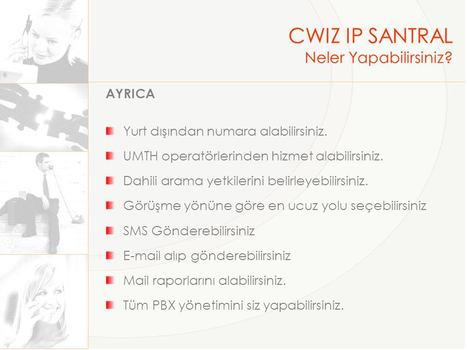 CWIZ IP SANTRAL Neler Yapabilirsiniz AYRICA