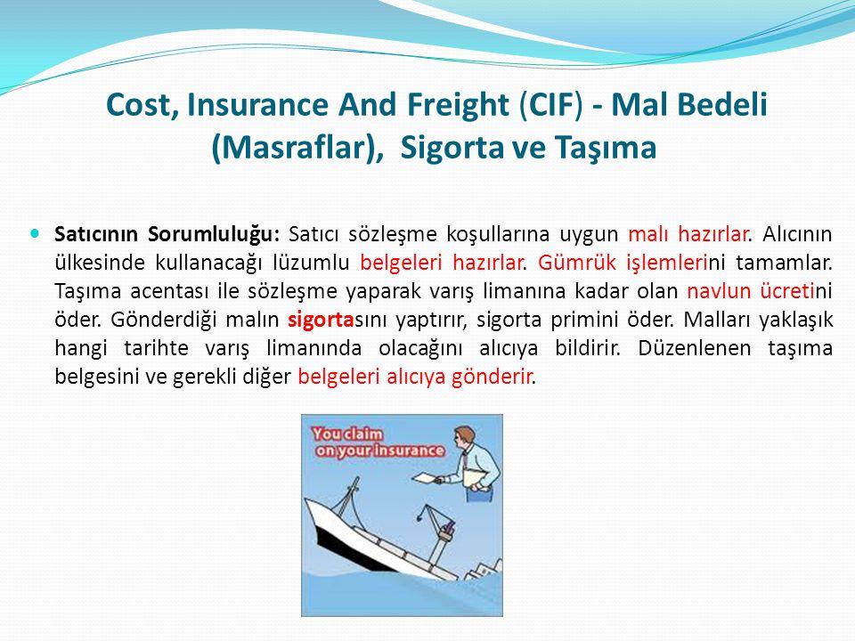 Cost, Insurance And Freight (CIF) - Mal Bedeli (Masraflar), Sigorta ve Taşıma