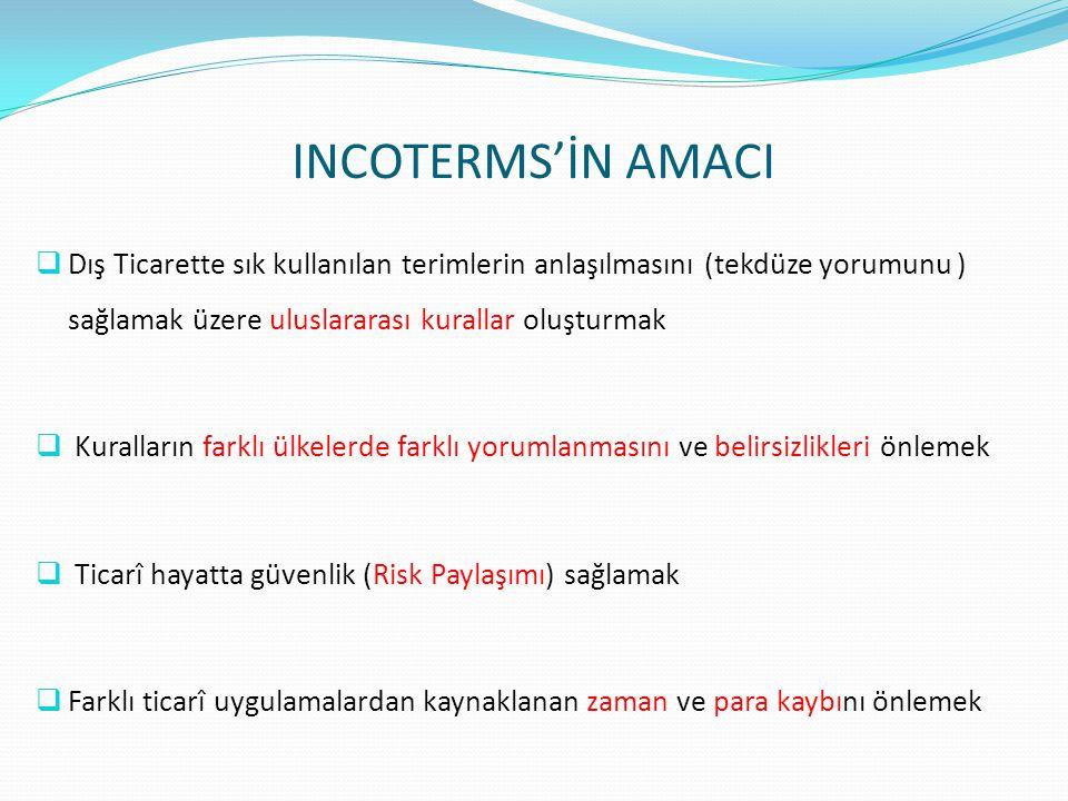 INCOTERMS'İN AMACI Dış Ticarette sık kullanılan terimlerin anlaşılmasını (tekdüze yorumunu ) sağlamak üzere uluslararası kurallar oluşturmak.