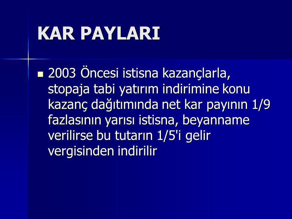 KAR PAYLARI