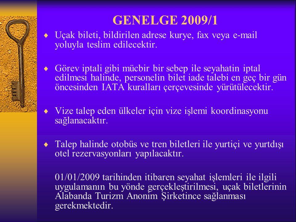 GENELGE 2009/1 Uçak bileti, bildirilen adrese kurye, fax veya e-mail yoluyla teslim edilecektir.