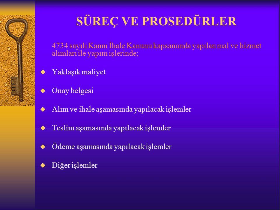 SÜREÇ VE PROSEDÜRLER 4734 sayılı Kamu İhale Kanunu kapsamında yapılan mal ve hizmet alımları ile yapım işlerinde;