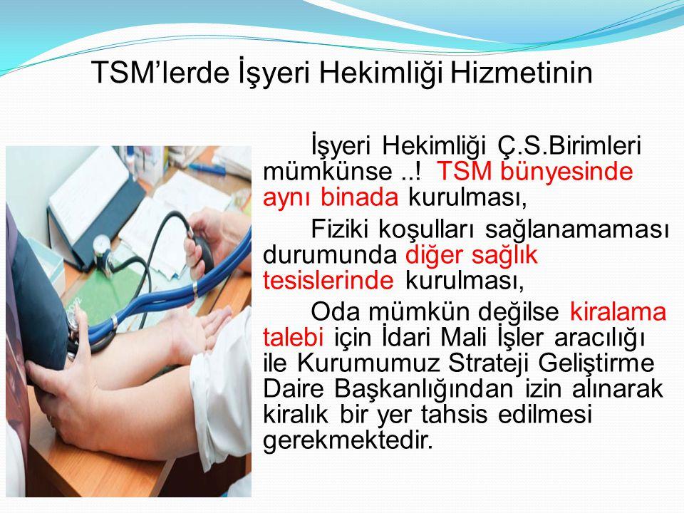TSM'lerde İşyeri Hekimliği Hizmetinin