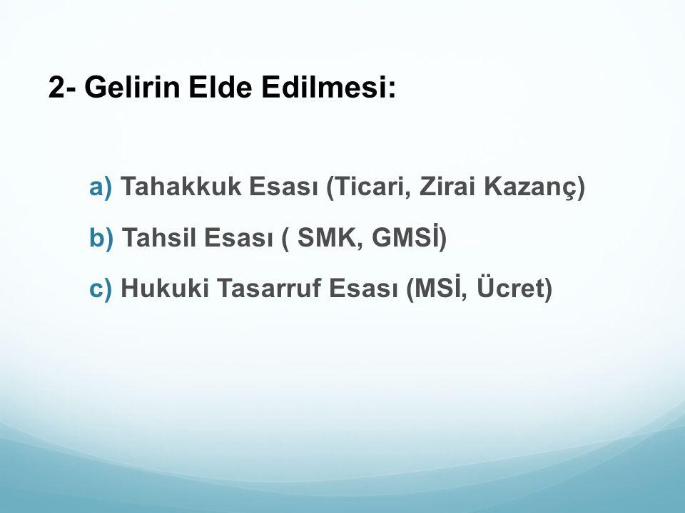 2- Gelirin Elde Edilmesi: