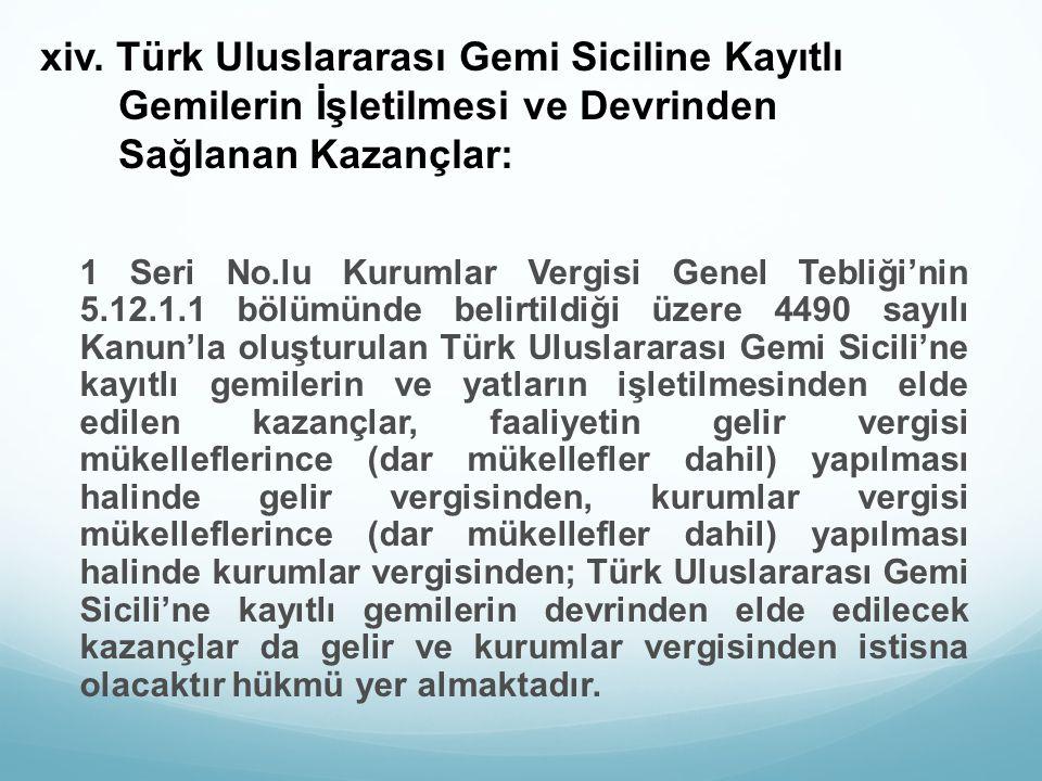 xiv. Türk Uluslararası Gemi Siciline Kayıtlı Gemilerin İşletilmesi ve Devrinden Sağlanan Kazançlar: