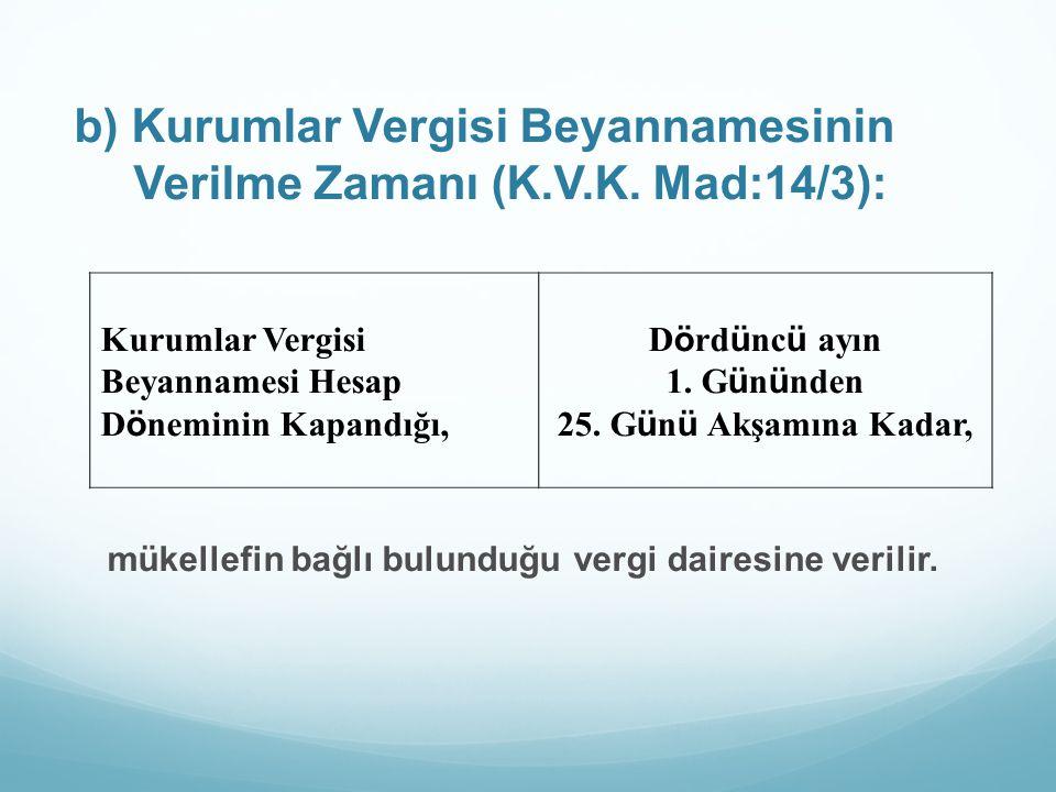 b) Kurumlar Vergisi Beyannamesinin Verilme Zamanı (K.V.K. Mad:14/3):