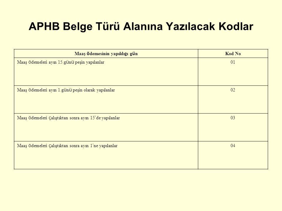 APHB Belge Türü Alanına Yazılacak Kodlar