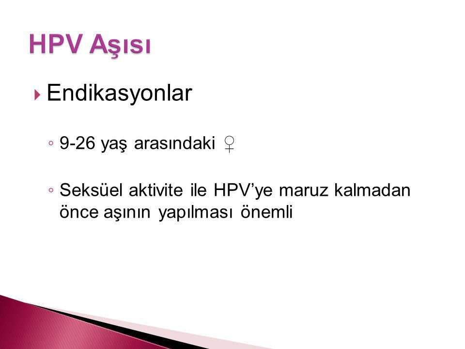 HPV Aşısı Endikasyonlar 9-26 yaş arasındaki ♀