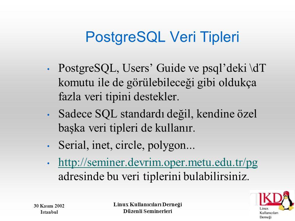 PostgreSQL Veri Tipleri