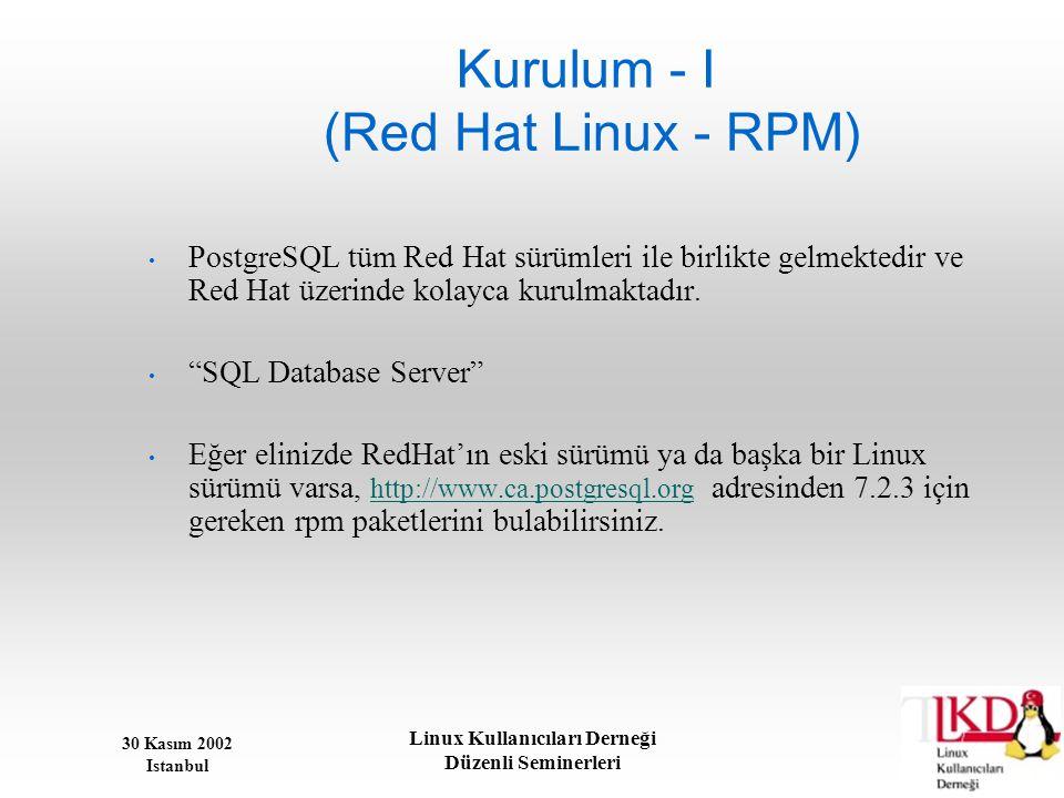 Kurulum - I (Red Hat Linux - RPM)