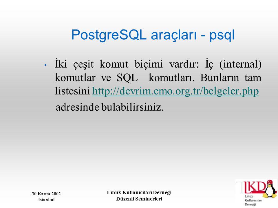 PostgreSQL araçları - psql