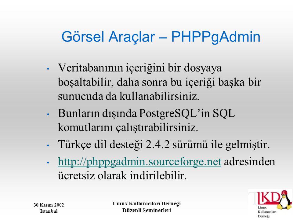 Görsel Araçlar – PHPPgAdmin