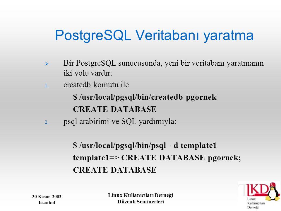 PostgreSQL Veritabanı yaratma
