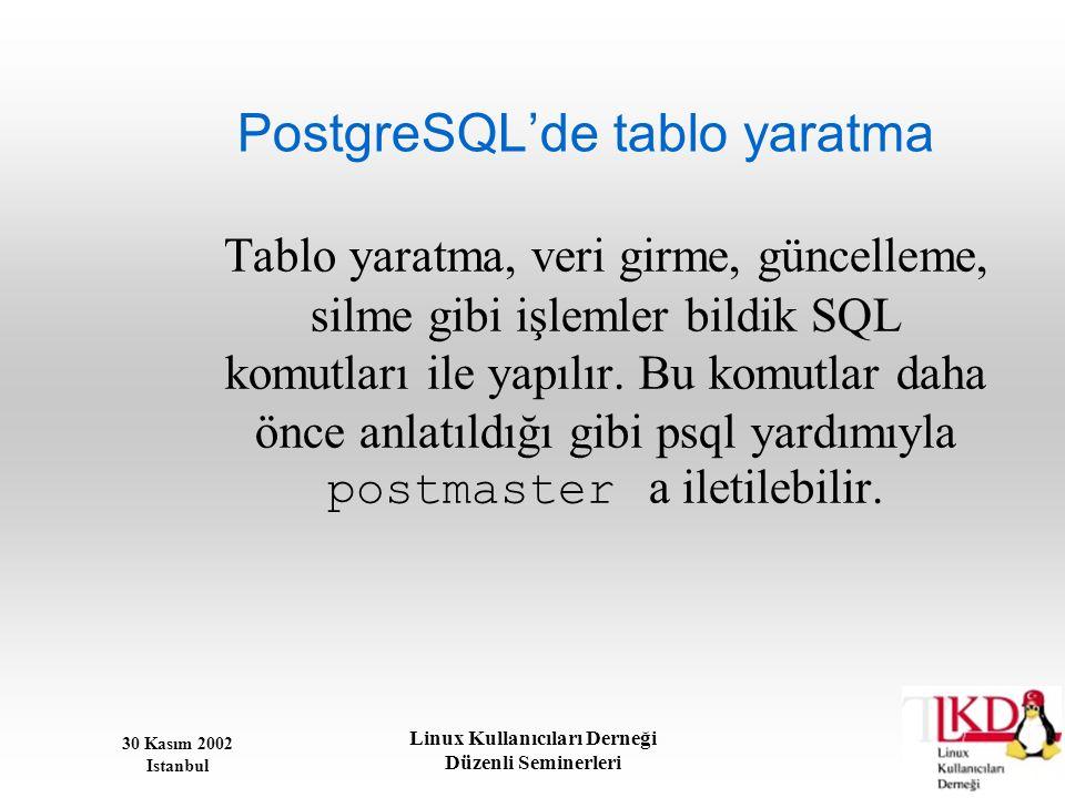 PostgreSQL'de tablo yaratma