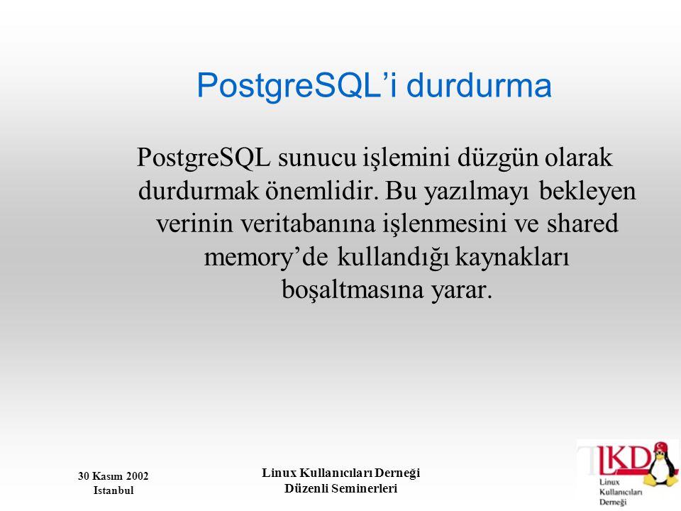 PostgreSQL'i durdurma