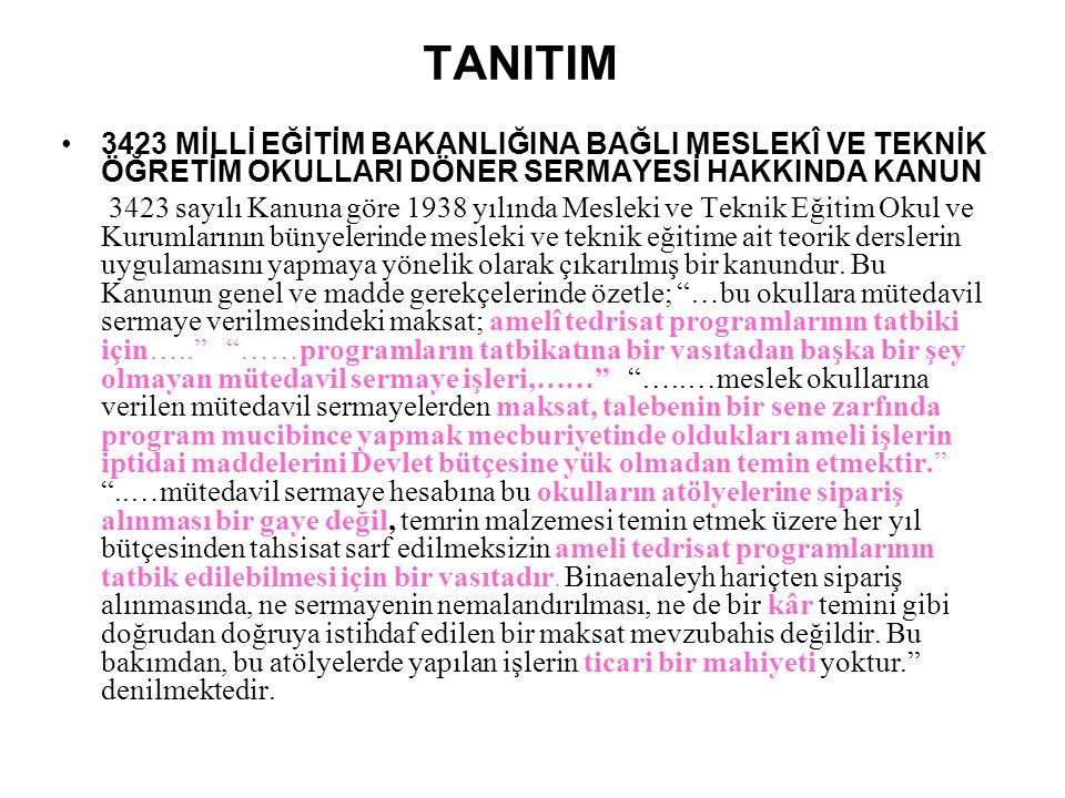 TANITIM 3423 MİLLİ EĞİTİM BAKANLIĞINA BAĞLI MESLEKÎ VE TEKNİK ÖĞRETİM OKULLARI DÖNER SERMAYESİ HAKKINDA KANUN.