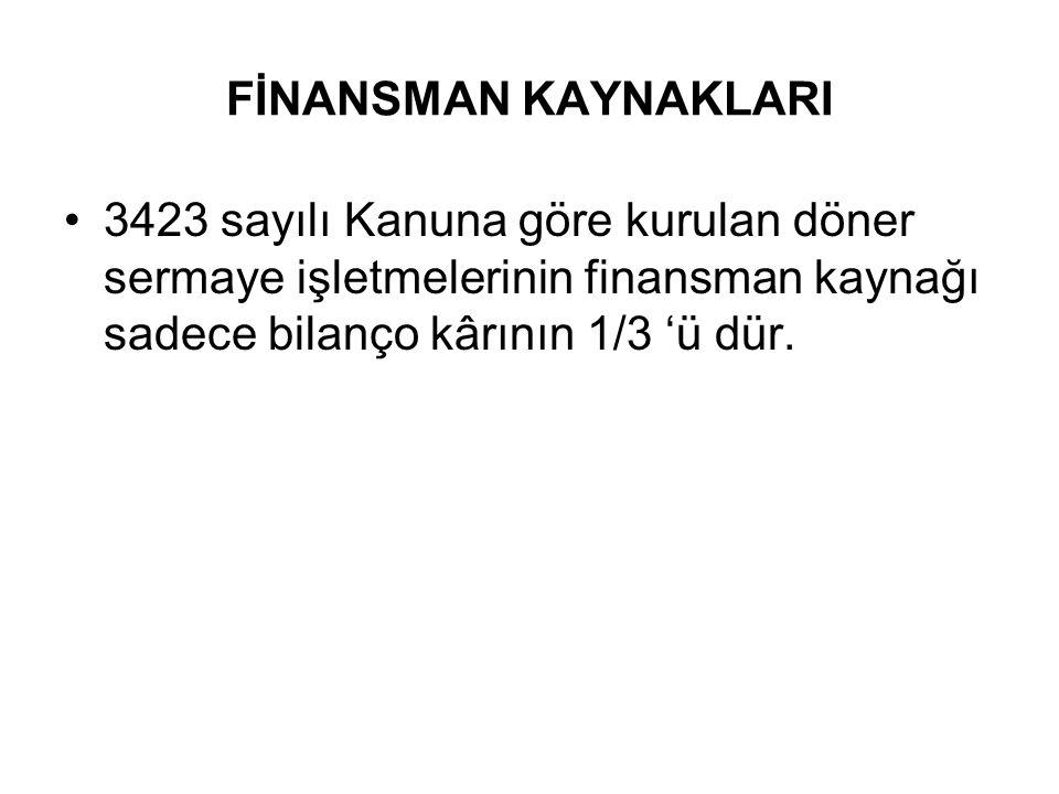 FİNANSMAN KAYNAKLARI 3423 sayılı Kanuna göre kurulan döner sermaye işletmelerinin finansman kaynağı sadece bilanço kârının 1/3 'ü dür.
