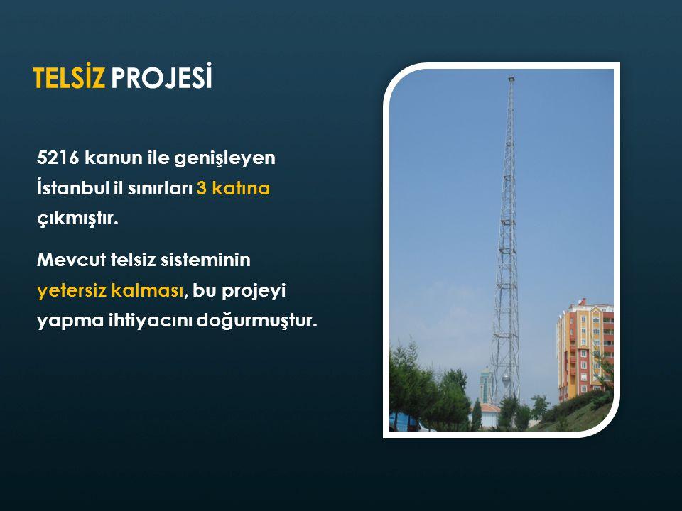 TELSİZ PROJESİ 5216 kanun ile genişleyen İstanbul il sınırları 3 katına çıkmıştır.