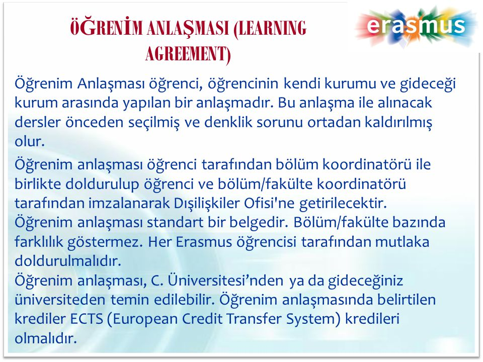 ÖĞRENİM ANLAŞMASI (LEARNING AGREEMENT)